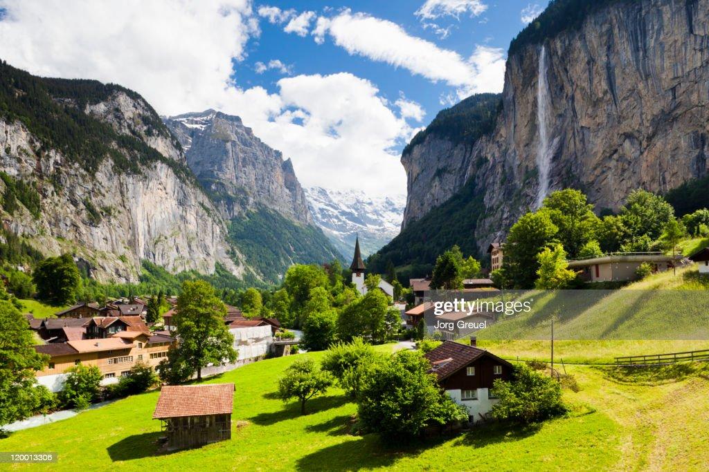 Lauterbrunnen and Staubbach Falls : Stock Photo