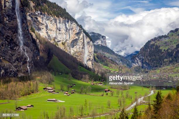 Lauterbrunnen village and Staubbach falls, Interlaken, Bern Canton, Switzerland