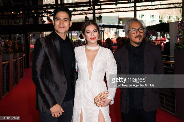 Lav Diaz Shaina Magdayao and Piolo Pascual attend the 'Season of the Devil' premiere during the 68th Berlinale International Film Festival Berlin at...