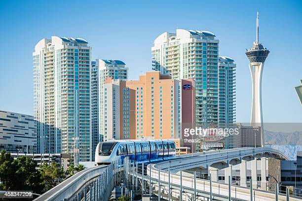 lav vegas monorail - monorail stock pictures, royalty-free photos & images
