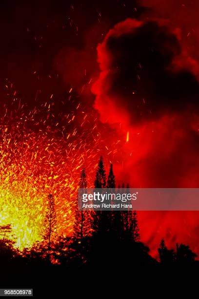 Lava and smoke explodes from Fissure 17 at Leilani Estates in the aftermath of eruptions from the Kilauea volcano on Hawaii's Big Island on May 13...