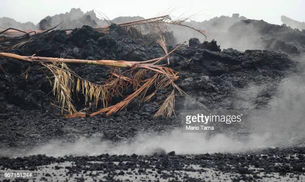 Lava cools in Leilani Estates in the aftermath of the Kilauea volcano eruption on Hawaii's Big Island on May 10 2018 in Pahoa Hawaii The community...