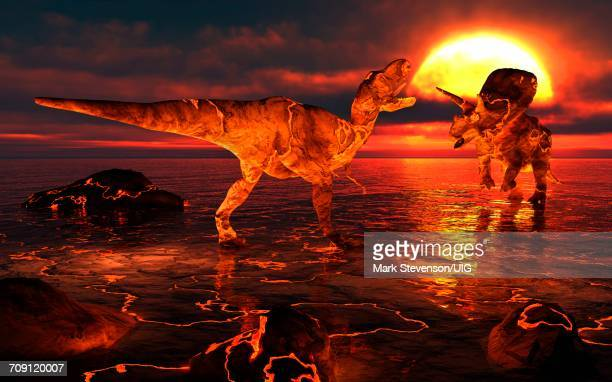 lava dinosaur extinction - herbivorous stock photos and pictures