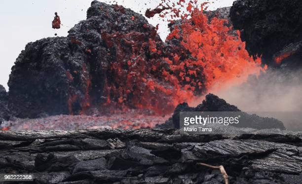 Lava erupts from a Kilauea volcano fissure in Leilani Estates on Hawaii's Big Island on May 24 2018 in Pahoa Hawaii An estimated 4060 cubic feet of...