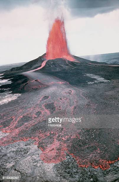 Lava erupts from Pu'u O'o Crater in Hawaii Volcanoes National Park Hawaii March 4 1985