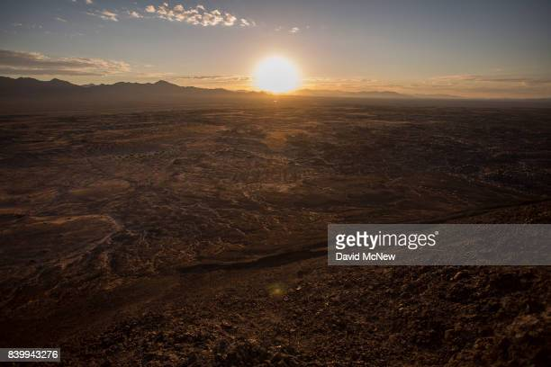 A lava field is seen at sunrise from atop Amboy Crater at Mojave Trails National Monument on August 27 2017 near Essex California The 16 millionacre...