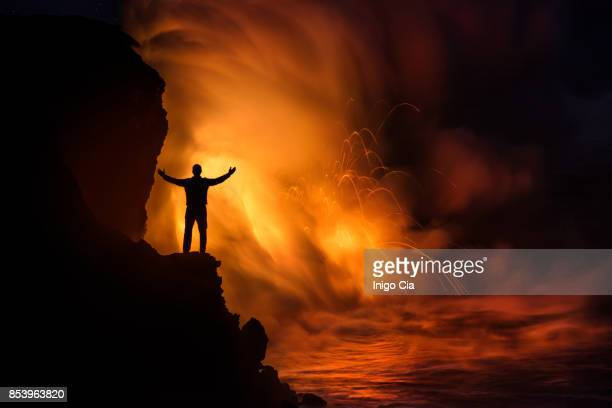 lava flow falling into the ocean in kalapana coast, hawaii - active volcano stock pictures, royalty-free photos & images