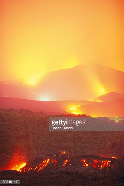 Lava flow from the Monti Calcarazzi fissure that threatened Nicolosi on the south flank of Mt. Etna, Sicily, Italy