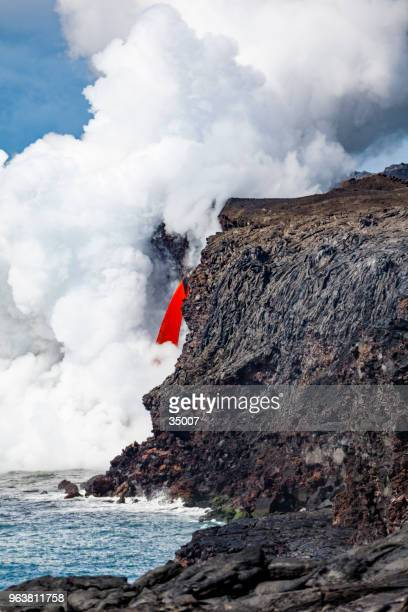 lava flow into the pacific ocean, kalapana, big island, hawaii