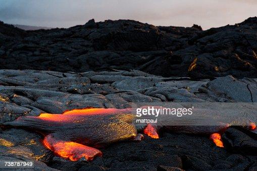 Lava Flowing at sunset, Hawaii Volcanoes National Park, Hawaii, America, USA