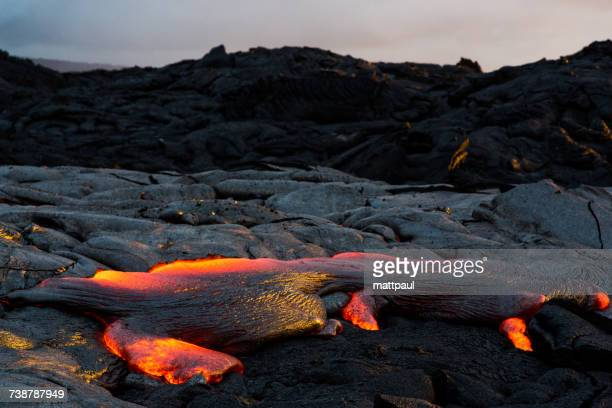 Lava Flowing at sunset, Hawaii Volcanoes National Park, Hawaii, America, USA