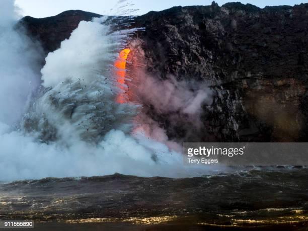 Lava flows enter the ocean, Hawaii Volcanoes National Park, Hawaii
