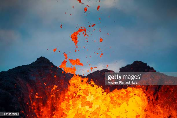Lava flows from a Fissure in the aftermath of eruptions from the Kilauea volcano on Hawaii's Big Island on May 22 2018 in Pahoa Hawaii The US...