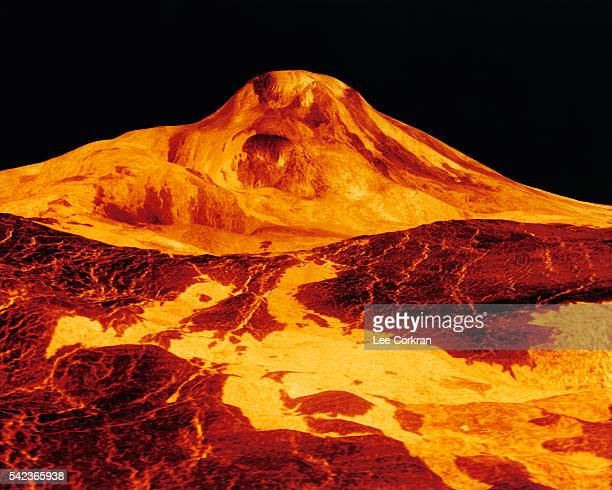 Lava flows from Maat Mons a 5milehigh volcano located on the planet Venus | Location Venus
