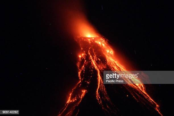 Lava flows from the slope of Mt Mayon in Daraga Albay The Philippine Institute of Volcanology and Seismology declared alert number 4 and wider the...
