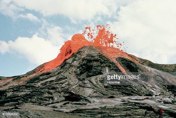 A lava fountain at the Mauna Ulu Crater | Location Kilauea Volcano East Flank Hawaii Volcanoes National Park Hawaii USA
