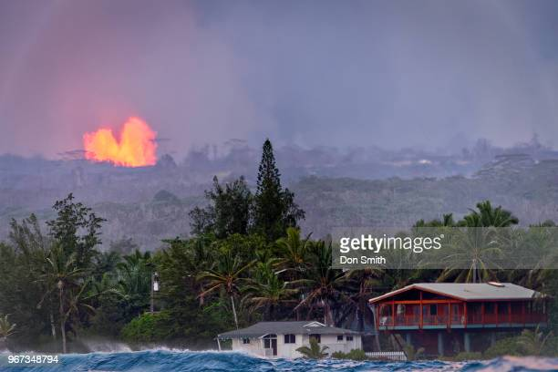 lava fountains and houses - don smith stock pictures, royalty-free photos & images