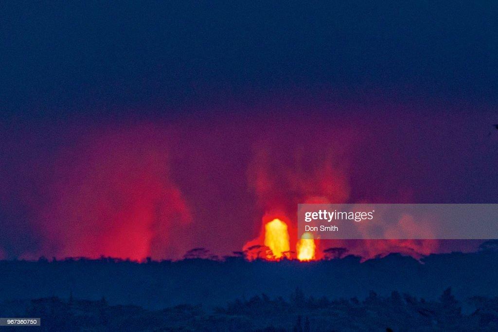 Lava Fountains and Albizia Trees : News Photo