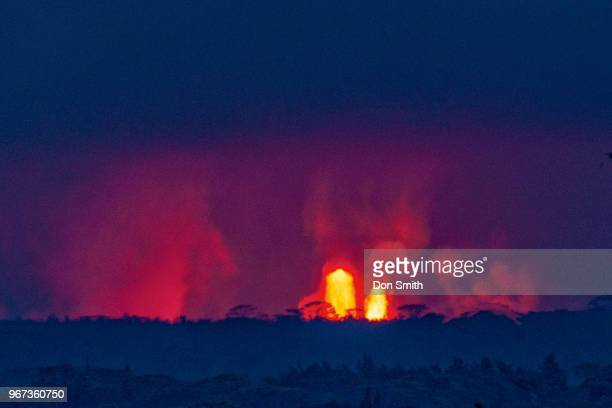Lava Fountains erupt over Albizia Trees in Leilani Estates on the Big Island on May 31 2018 in Pahoa Hawaii These Albizia Trees are estimated to be...