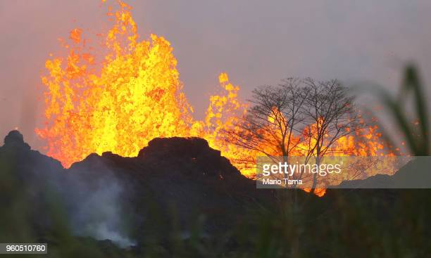 Lava from a Kilauea volcano fissure erupts on Hawaii's Big Island on May 20 2018 in Kapoho Hawaii The US Geological Survey said the volcano erupted...