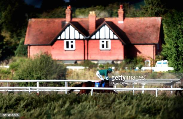 Lava Lamp ridden by Adam Wedges on their way to victory in the October Novicesacute Limited Handicap Chase at Ludlow Racecourse Shropshire