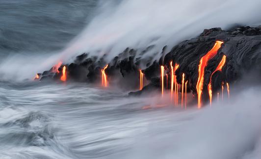Lava Ocean Entry, Kilauea, Hawaii 592668294