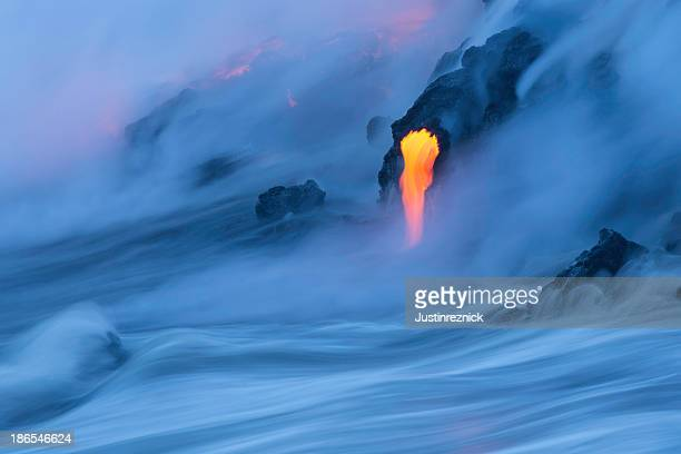 lava ocean entry - pele goddess stock pictures, royalty-free photos & images