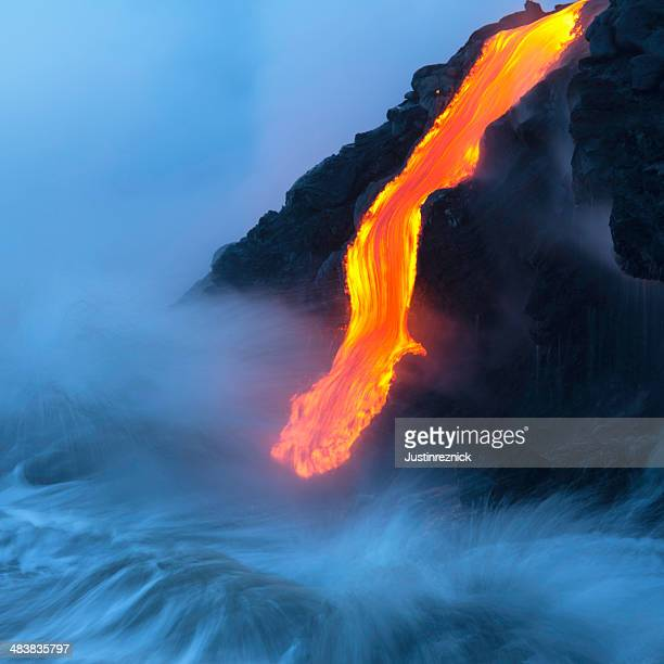 lava ocean entry - lava stock pictures, royalty-free photos & images