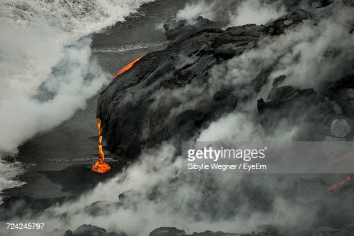 Lava On Rock Against Sky