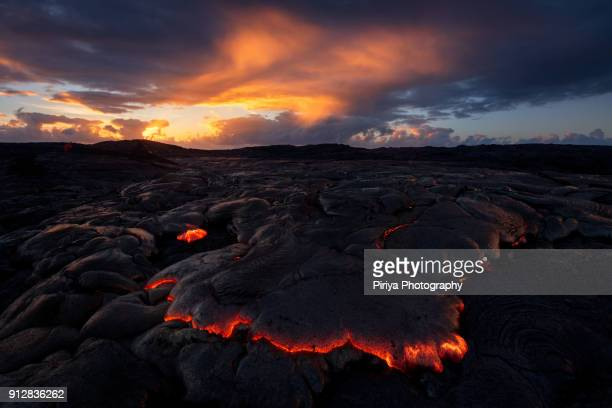 lava surface flow front at big island hawaii - media_in_honolulu,_hawaii stock pictures, royalty-free photos & images