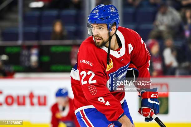 Laval Rocket center Alex Belzile looks towards his right at warmup before the Cleveland Monsters versus the Laval Rocket game on April 03 at Place...
