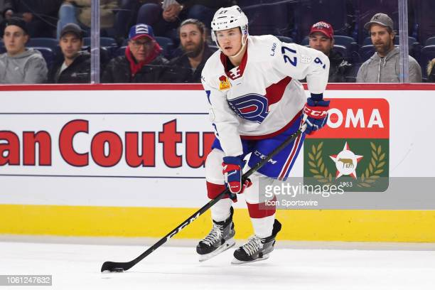 Laval Rocket center Alexandre Alain looks for a pass target during the Toronto Marlies versus the Laval Rocket game on November 13 at Place Bell in...