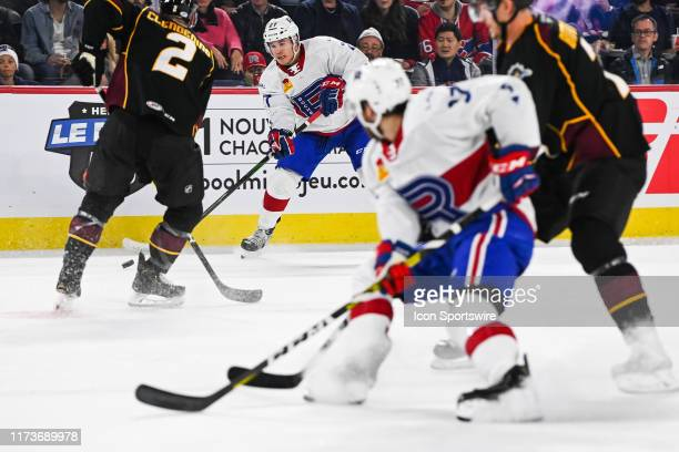 Laval Rocket center Alexandre Alain looks for a pass target during the Cleveland Monsters versus the Laval Rocket game on October 04 at Place Bell in...