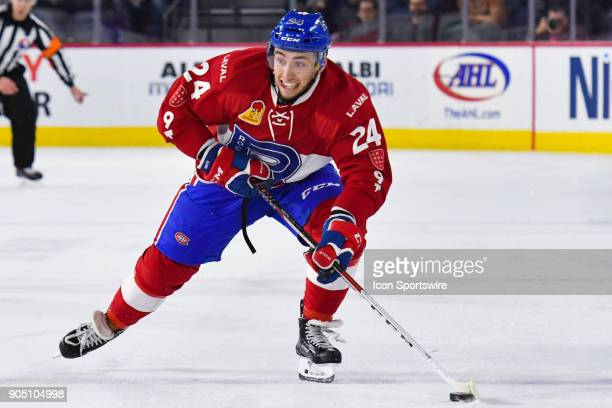 Laval Rocket center Daniel Audette skates in control of the puck during the Utica Comets versus the Laval Rocket game on January 10 at Place Bell in...