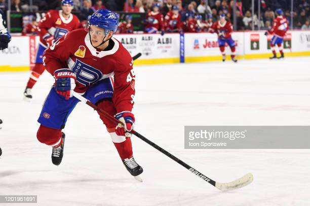 Laval Rocket center Jesperi Kotkaniemi skates while tracking the play on his right during the Manitoba Moose versus the Laval Rocket game on February...