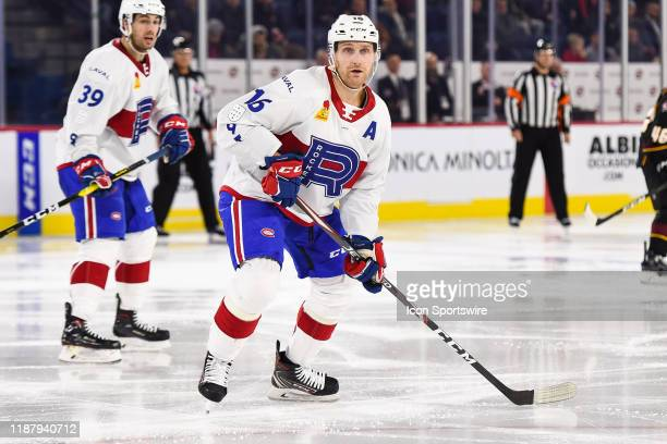 Laval Rocket defenceman Karl Alzner tracks the play during the Cleveland Monsters versus the Laval Rocket game on December 10 at Place Bell in Laval,...