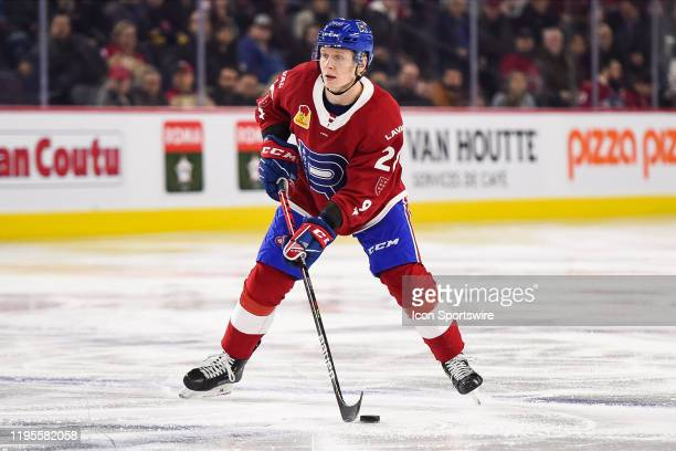 Laval Rocket defenceman Otto Leskinen looks for a pass target during the Syracuse Crunch versus the Laval Rocket game on January 22 at Place Bell in...