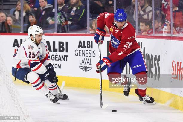 Laval Rocket defenceman Trevor Owens gains control of the puck behind the net during the Springfield Thunderbirds versus the Laval Rocket game on...