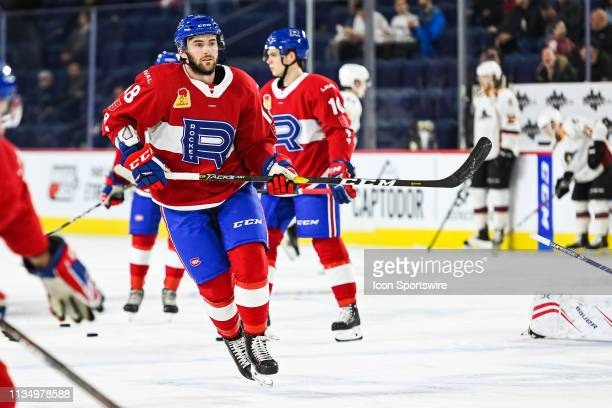 Laval Rocket forward Thomas Ebbing skates at warm-up before the Cleveland Monsters versus the Laval Rocket game on April 03 at Place Bell in Laval, QC
