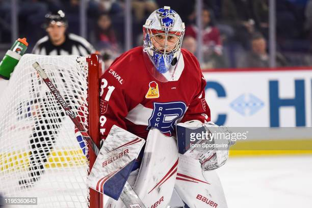 Laval Rocket goalie Cayden Primeau tracks the play during the Syracuse Crunch versus the Laval Rocket game on January 22 at Place Bell in Laval QC