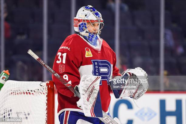 Laval Rocket goalie Cayden Primeau waits for a faceoff during the Syracuse Crunch versus the Laval Rocket game on January 22 at Place Bell in Laval QC