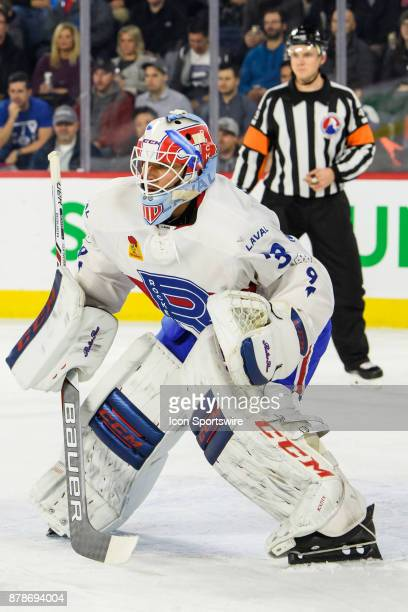 Laval Rocket goalie MIchael McNiven looks on during the first period of the AHL game between the Utica Comets and the Laval Rocket on November 24 at...