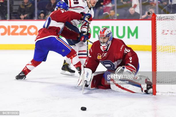 Laval Rocket goalie Zach Fucale gives a rebound during the Springfield Thunderbirds versus the Laval Rocket game on April 6 at Place Bell in Laval QC