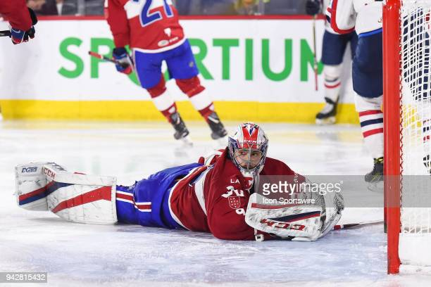 Laval Rocket goalie Zach Fucale lays on the ice after giving a goal during the Springfield Thunderbirds versus the Laval Rocket game on April 6 at...