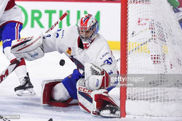 Laval Rocket goalie Zach Fucale makes a save during the Providence Bruins versus the Laval Rocket game on March 07 at Place Bell in Montreal QC
