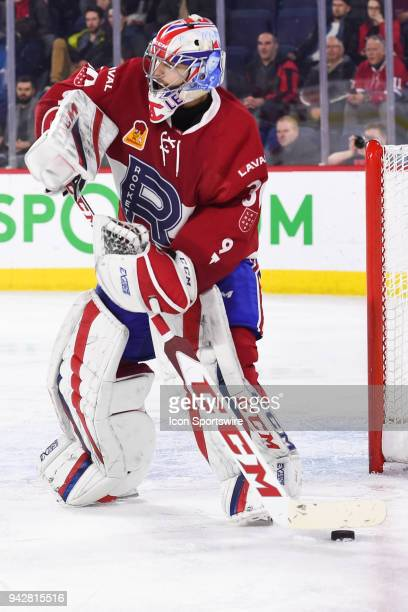 Laval Rocket goalie Zach Fucale passes the puck during the Springfield Thunderbirds versus the Laval Rocket game on April 6 at Place Bell in Laval QC