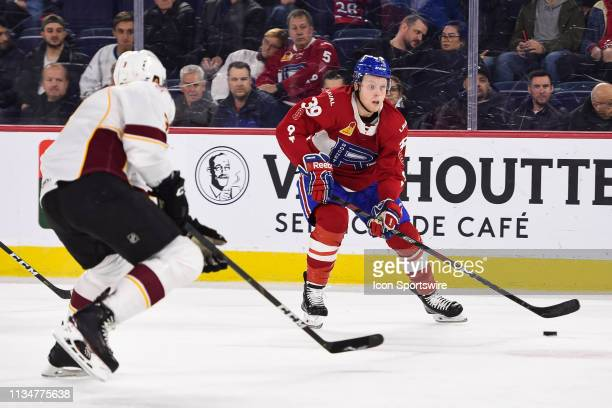 Laval Rocket left wing Hunter Shinkaruk gets ready to shoot the puck during the Cleveland Monsters versus the Laval Rocket game on April 03 at Place...