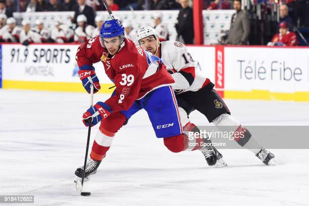 Laval Rocket left wing Jordan Boucher skates away with the puck during the Belleville Senators versus the Laval Rocket game on February 14 at Place...