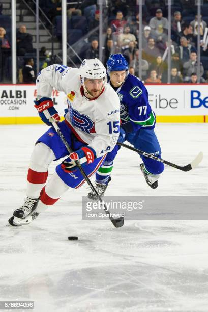 Laval Rocket Thomas Ebbing enters the Comets zone during the second period of the AHL game between the Utica Comets and the Laval Rocket on November...
