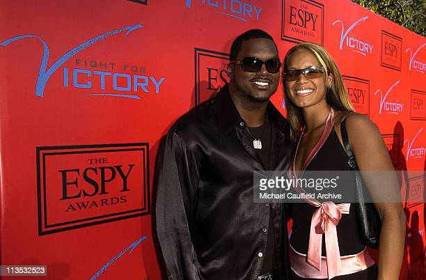 LaVar Arrington and Trishia Johnson during Tom Brady and ESPN Host Fight For Victory PreParty for the 12th Annual ESPY Awards at Playboy Mansion in...